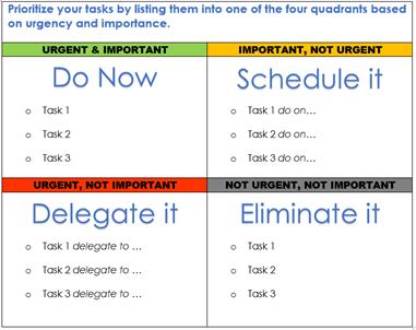 Prioritize tasks with Eisenhower Matrix